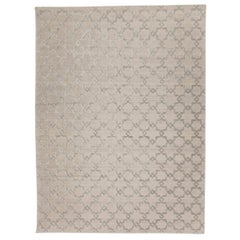 Contemporary Handmade Silk and Wool Rug, Geometric Design in Soft Color