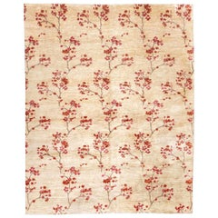 Contemporary Handmade Silk and Wool Rug with Branches and Flowers Design