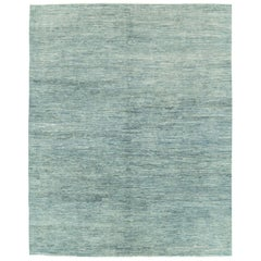 Contemporary Handmade Solid Patterned Turkish Room Size Carpet in Seafoam Green
