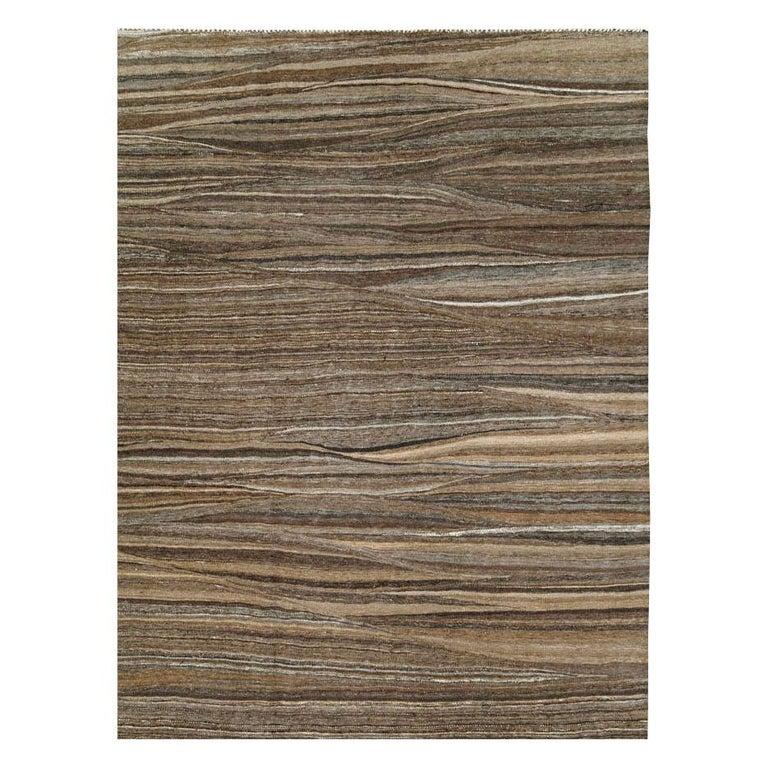 Scandinavian Modern Contemporary Handmade Swedish Inspired Brown Room Size Flat-Weave Rug For Sale