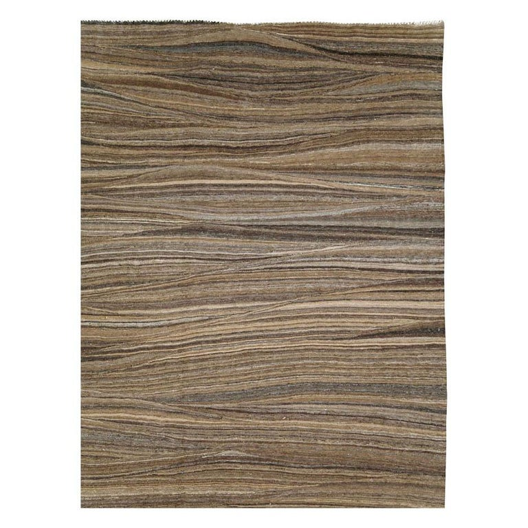 Turkish Contemporary Handmade Swedish Inspired Brown Room Size Flat-Weave Rug For Sale