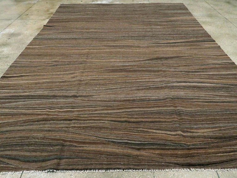 Hand-Woven Contemporary Handmade Swedish Inspired Brown Room Size Flat-Weave Rug For Sale