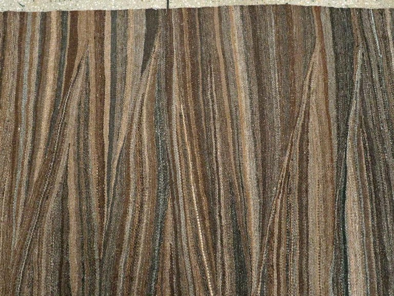 Contemporary Handmade Swedish Inspired Brown Room Size Flat-Weave Rug For Sale 1