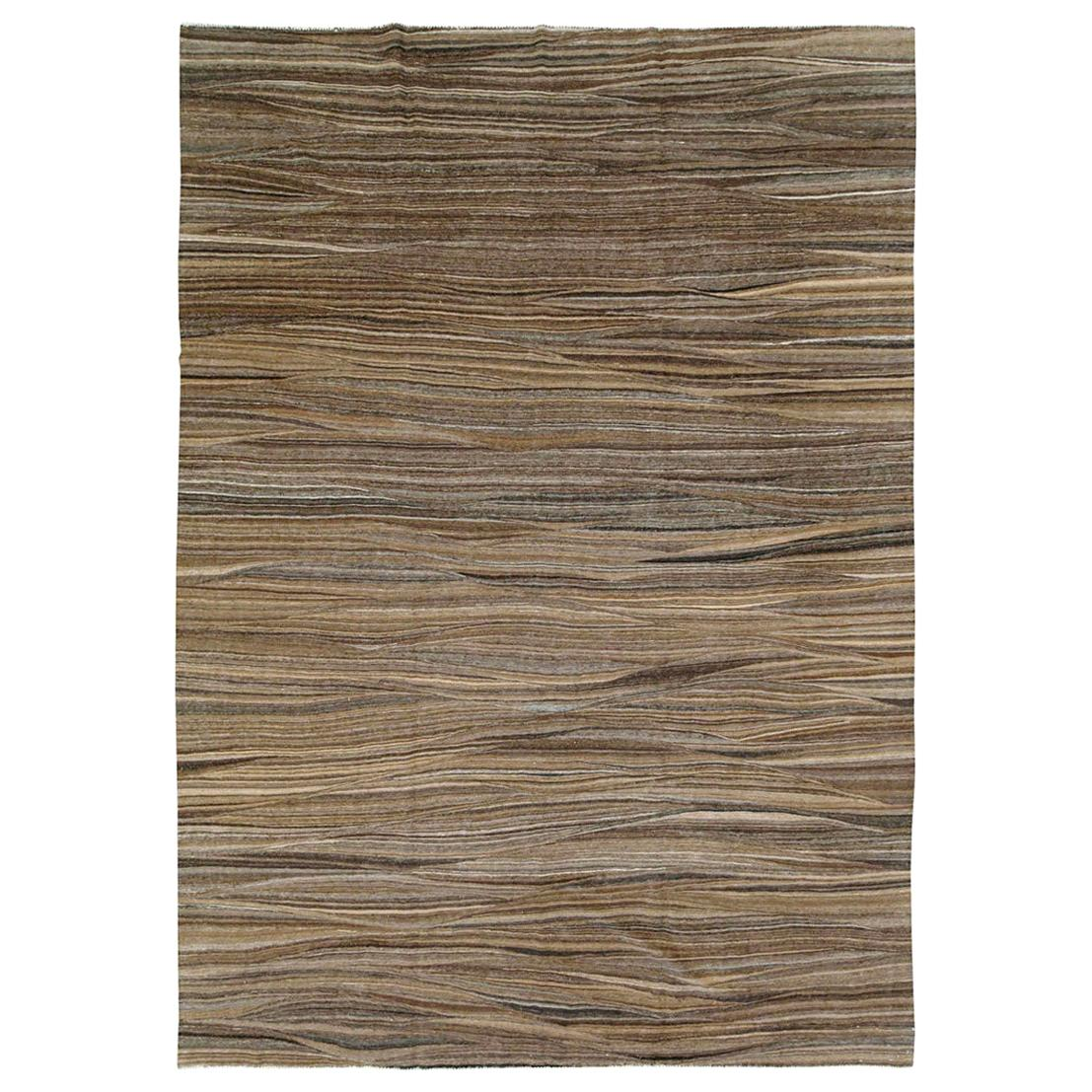 Contemporary Handmade Swedish Inspired Brown Room Size Flat-Weave Rug