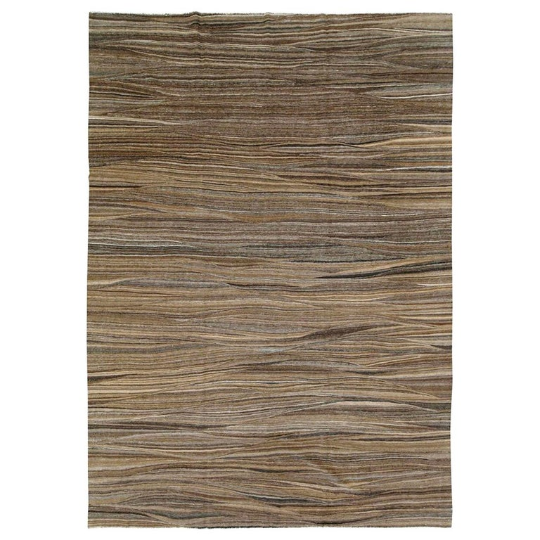 Contemporary Handmade Swedish Inspired Brown Room Size Flat-Weave Rug For Sale