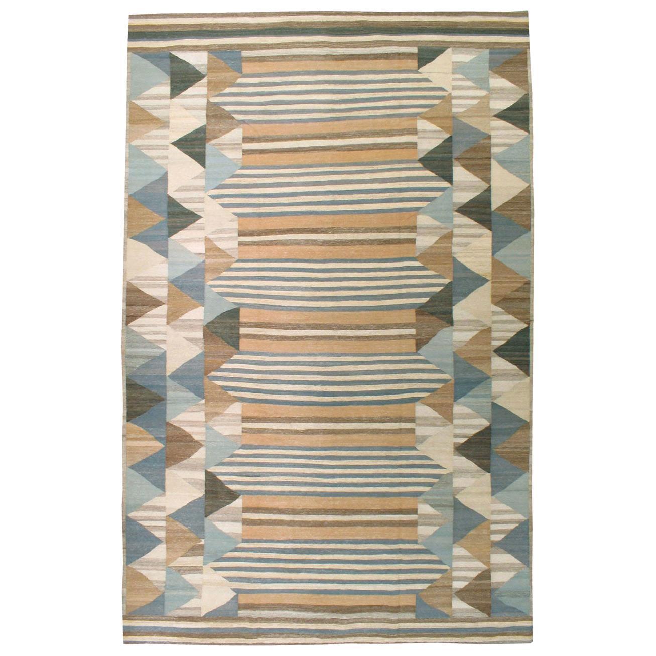 Contemporary Handmade Swedish Inspired Persian Large Flat-Weave Rug