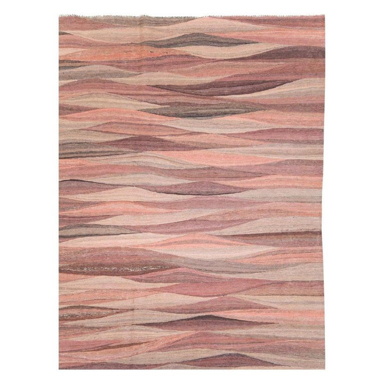 Scandinavian Modern Contemporary Handmade Swedish Inspired Pink Room Size Flat-Weave Rug For Sale