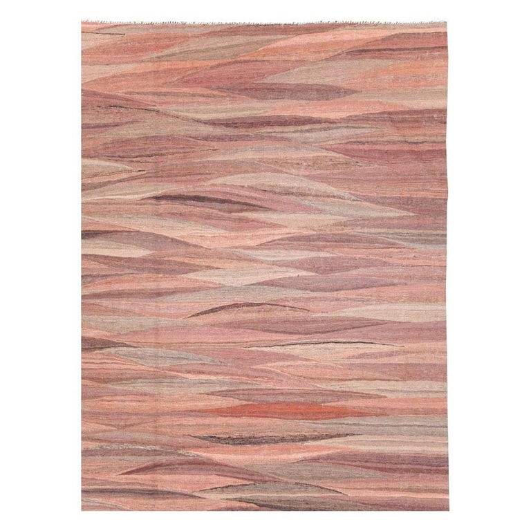 Turkish Contemporary Handmade Swedish Inspired Pink Room Size Flat-Weave Rug For Sale