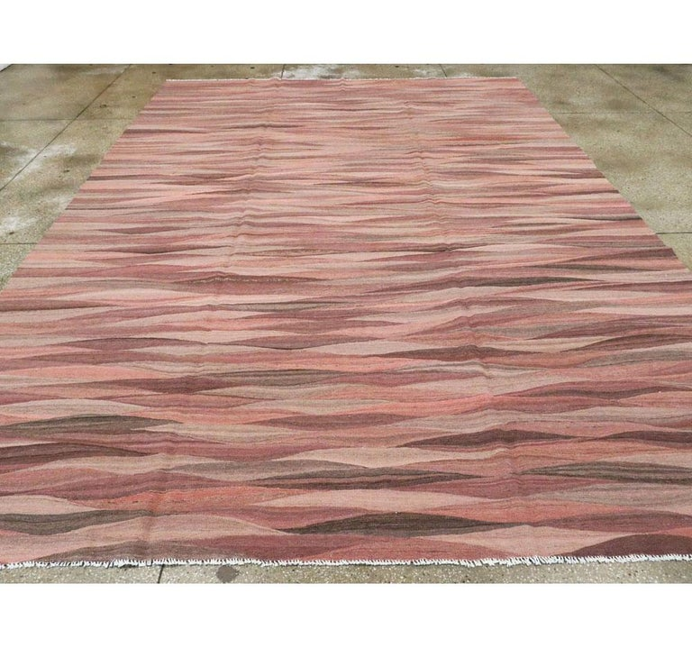 Hand-Woven Contemporary Handmade Swedish Inspired Pink Room Size Flat-Weave Rug For Sale