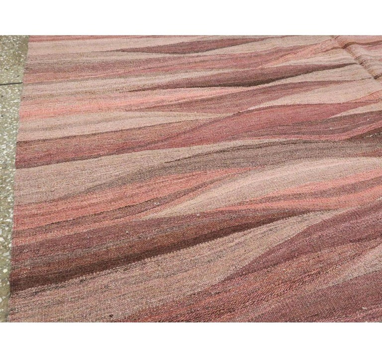 Contemporary Handmade Swedish Inspired Pink Room Size Flat-Weave Rug In New Condition For Sale In New York, NY