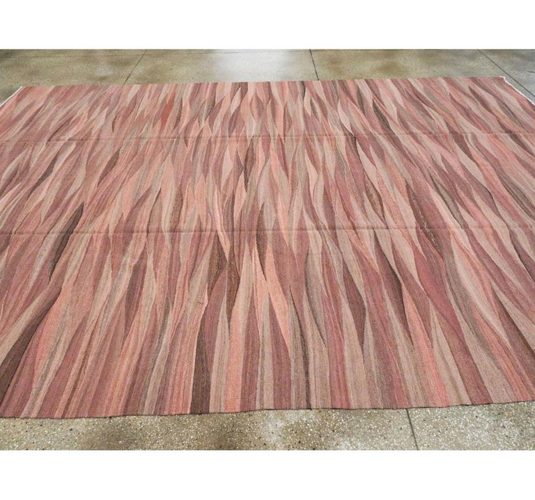 Contemporary Handmade Swedish Inspired Pink Room Size Flat-Weave Rug For Sale 1