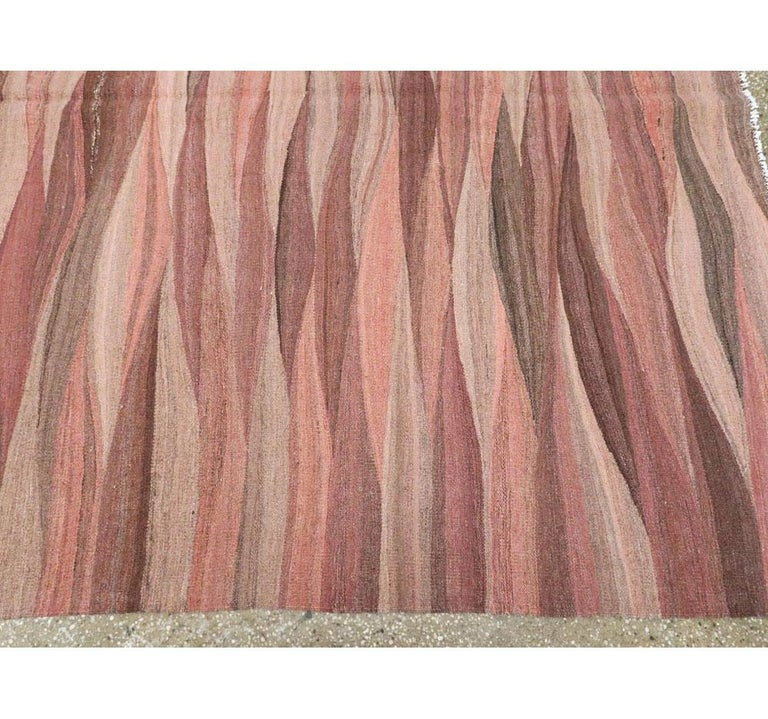 Contemporary Handmade Swedish Inspired Pink Room Size Flat-Weave Rug For Sale 2