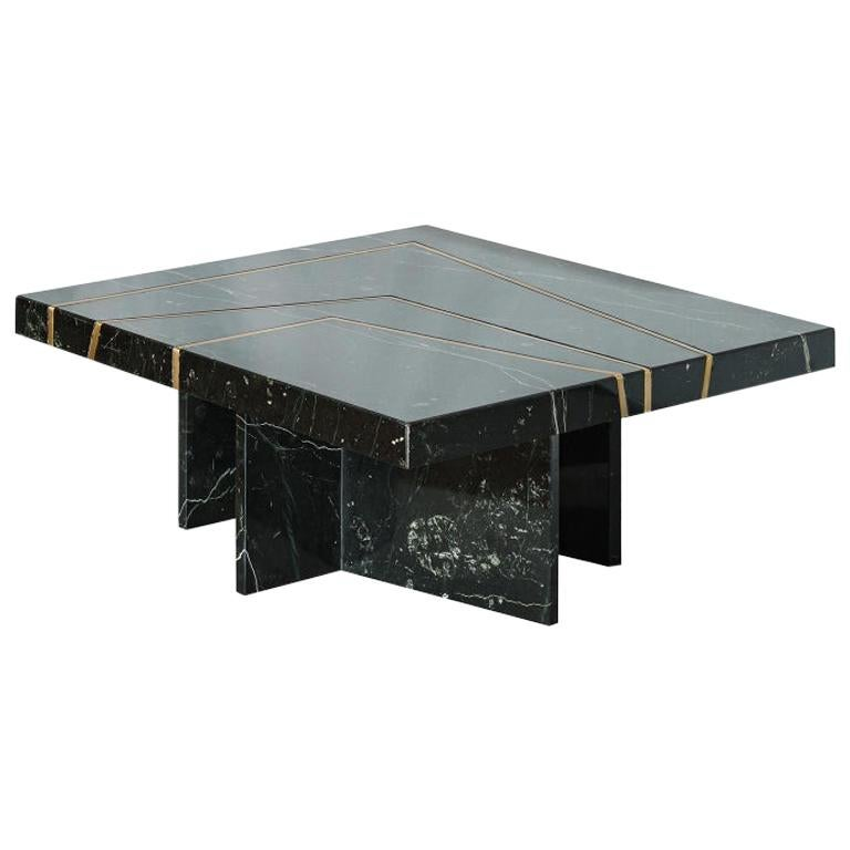 """Contemporary Handmade Table """"Aeneas"""" Marble with Brass Linear Pattern by Anaktae"""