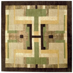 Contemporary Handmade Tibetan Art Deco Square Large Room Size Rug
