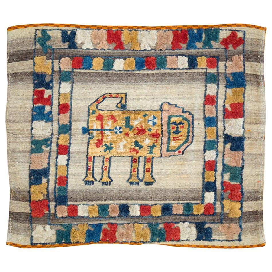 Contemporary Handmade Tribal Folk Persian Flat-Weave Rug