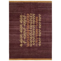Contemporary Handmade Turkish Anatolian Room Size Carpet in Aubergine
