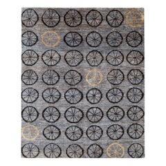 Contemporary Handmade Turkish Deco Room Size Accent Rug In Slate Grey and Blue