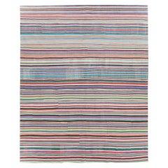 Contemporary Handmade Turkish Flat-Weave Kilim Colorful Large Room Size Carpet