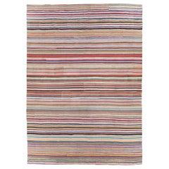 Contemporary Handmade Turkish Flat-Weave Kilim Colorful Oversize Carpet