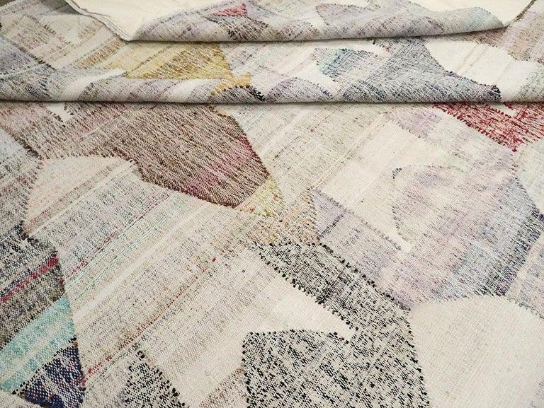 Contemporary Handmade Turkish Flat-Weave Kilim Large Geometric Room Size Carpet For Sale 4