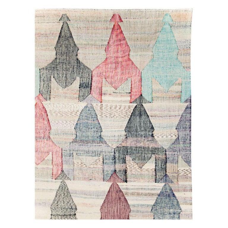 Modern Contemporary Handmade Turkish Flat-Weave Kilim Large Geometric Room Size Carpet For Sale
