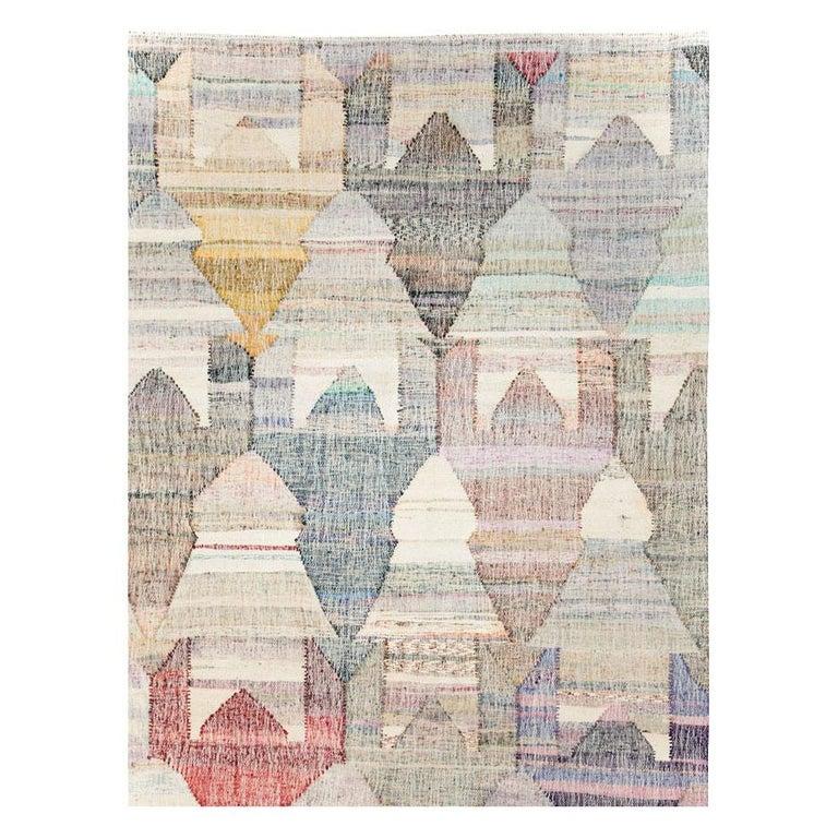 Hand-Woven Contemporary Handmade Turkish Flat-Weave Kilim Large Geometric Room Size Carpet For Sale