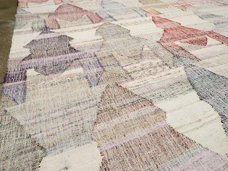 Wool Contemporary Handmade Turkish Flat-Weave Kilim Large Geometric Room Size Carpet For Sale