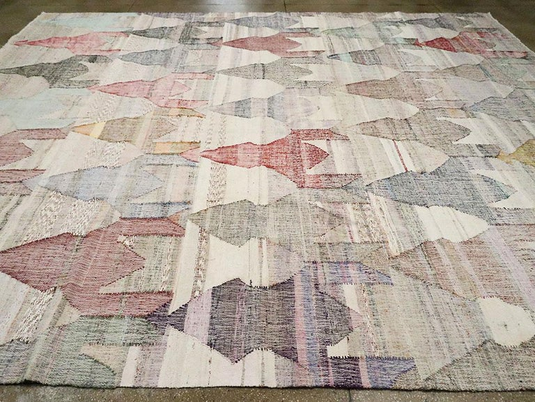Contemporary Handmade Turkish Flat-Weave Kilim Large Geometric Room Size Carpet For Sale 1
