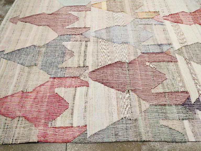 Contemporary Handmade Turkish Flat-Weave Kilim Large Geometric Room Size Carpet For Sale 2