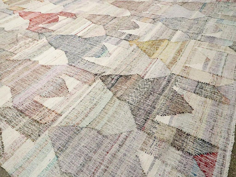 Contemporary Handmade Turkish Flat-Weave Kilim Large Geometric Room Size Carpet For Sale 3