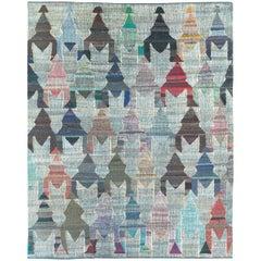 Contemporary Handmade Turkish Flat-Weave Kilim Large Geometric Room Size Carpet