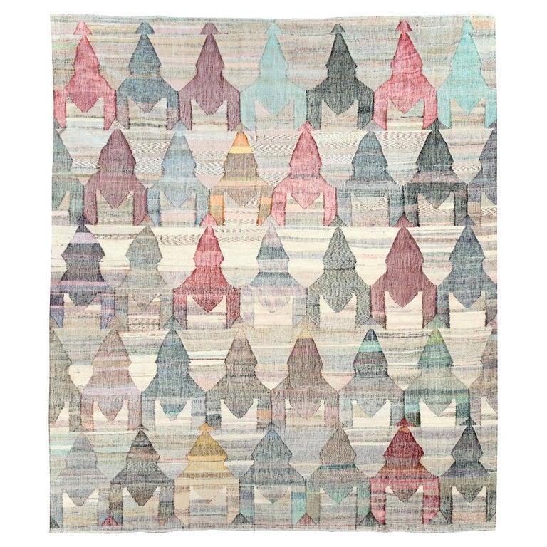 Contemporary Handmade Turkish Flat-Weave Kilim Large Geometric Room Size Carpet For Sale