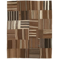 Contemporary Handmade Turkish Flat-Weave Kilim Room Size Carpet in Brown Shades
