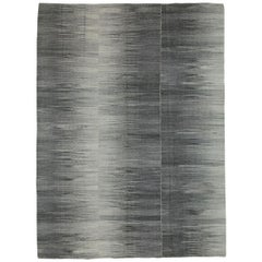 Contemporary Handmade Turkish Flat-Weave Accent Rug in Black Charcoal Grey