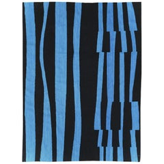 Contemporary Handmade Turkish Flatweave Kilim Accent Rug in Black and Blue