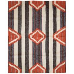 Contemporary Handmade Turkish Flatweave Kilim Accent Rug in Denim, Red, Cream
