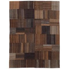 Contemporary Handmade Turkish Flatweave Kilim Room Size Carpet in Brown Shades