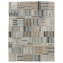 Contemporary Handmade Turkish Flatweave Kilim Room Size Carpet In Grey