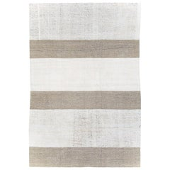 Contemporary Handmade Turkish Flatweave Kilim Room Size Rug in White and Brown