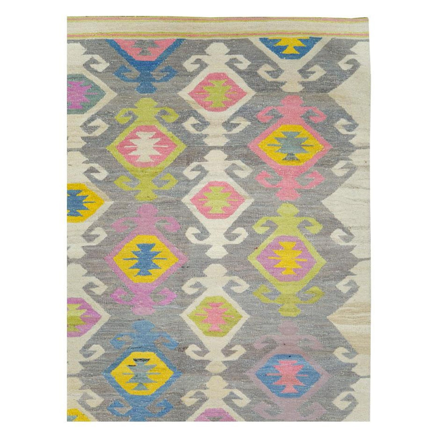 Contemporary Handmade Flat Weave Rug In Grey Beige Yellow Pink Blue Green For Sale At 1stdibs
