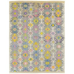 Contemporary Handmade Flat-Weave Rug in Grey Beige Yellow Pink Blue Green