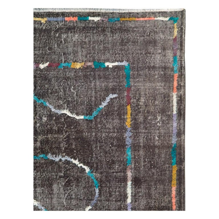Modern Contemporary Handmade Turkish Folk Rug with a Distressed Appeal in Charcoal For Sale