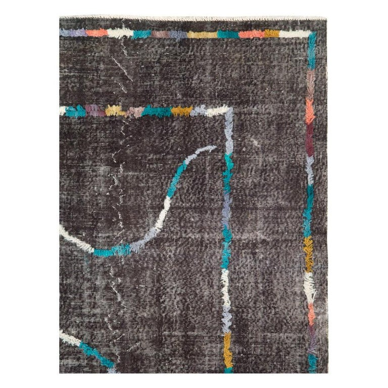 Hand-Knotted Contemporary Handmade Turkish Folk Rug with a Distressed Appeal in Charcoal For Sale