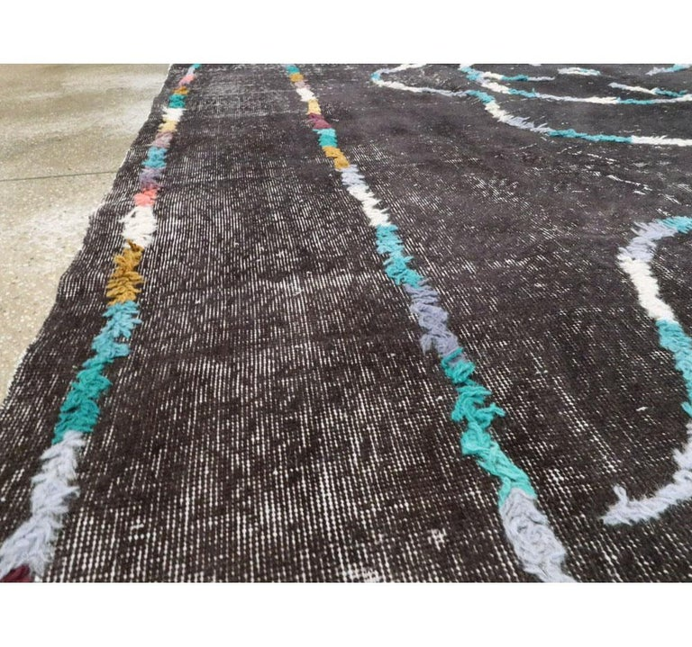 Wool Contemporary Handmade Turkish Folk Rug with a Distressed Appeal in Charcoal For Sale