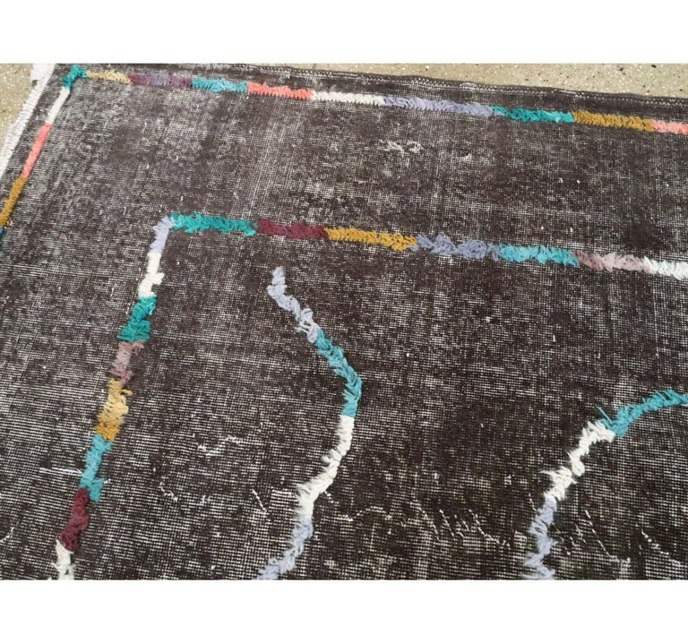 Contemporary Handmade Turkish Folk Rug with a Distressed Appeal in Charcoal For Sale 1