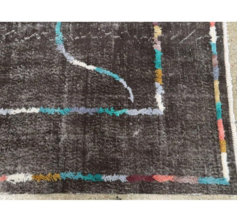 Contemporary Handmade Turkish Folk Rug with a Distressed Appeal in Charcoal For Sale 3