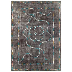 Contemporary Handmade Turkish Folk Rug with a Distressed Appeal in Charcoal