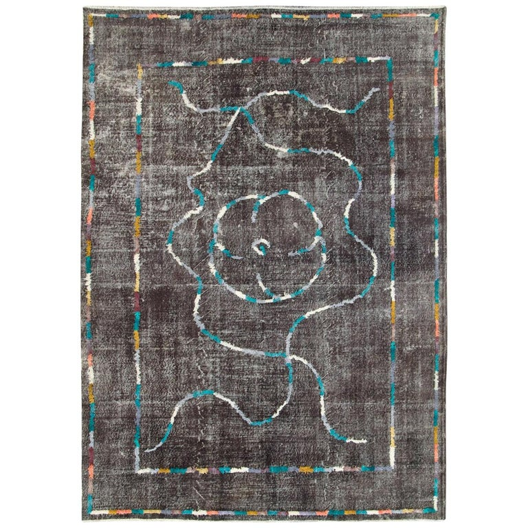 Contemporary Handmade Turkish Folk Rug with a Distressed Appeal in Charcoal For Sale