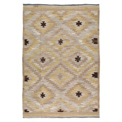 Contemporary Handmade Turkish Kilim Flatweave Room Size Rug