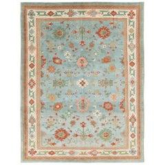 Contemporary Handmade Turkish Oushak Light Blue Room Size Carpet
